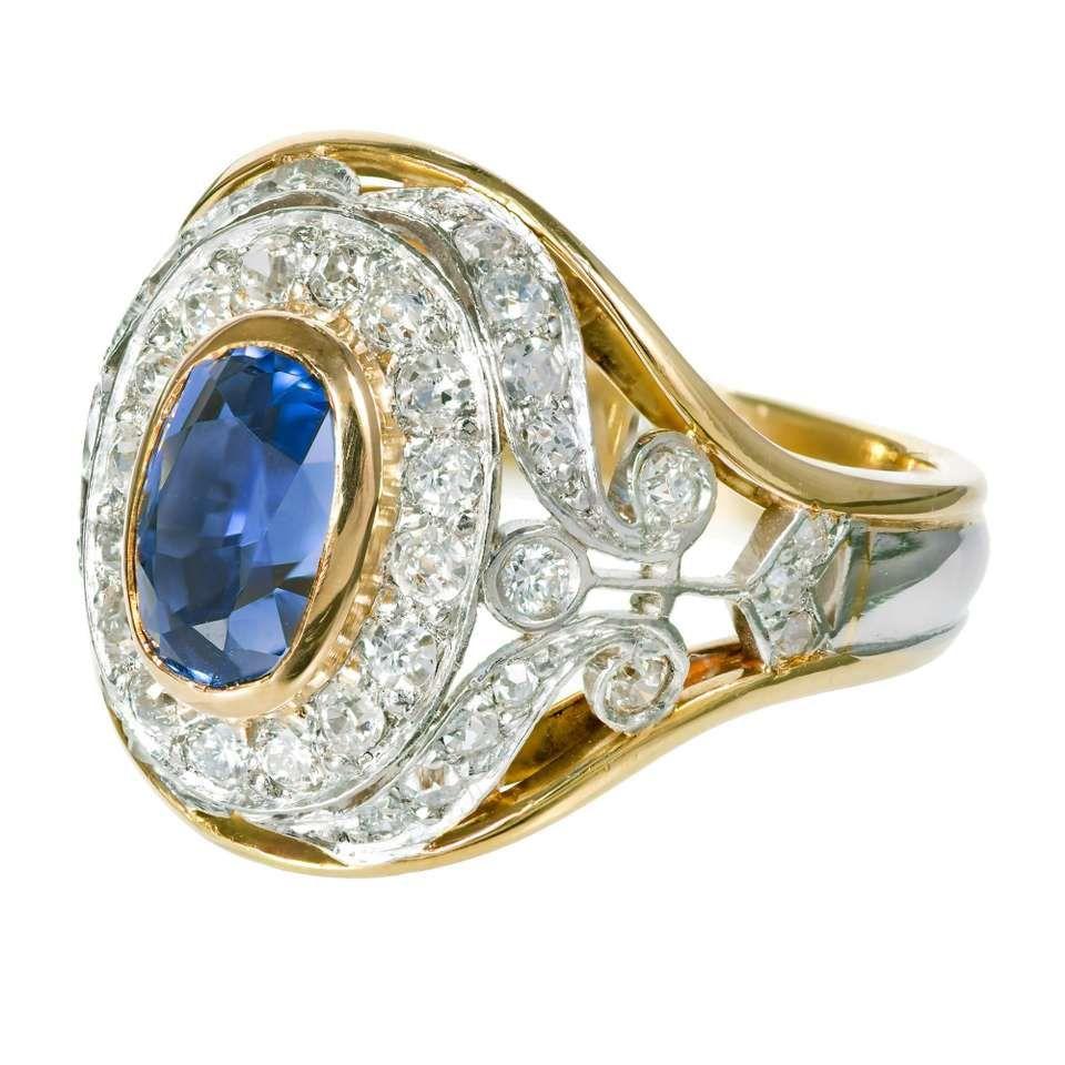 GIA Certified 2.60 Carat Sapphire Diamond Yellow Gold Platinum Cocktail Ring