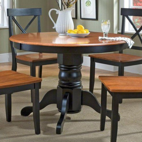 home styles 5168 30 round pedestal dining table black and cottage