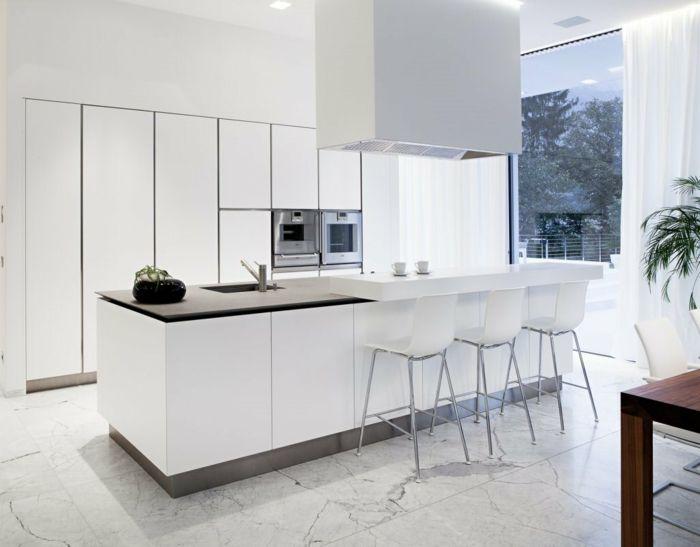 1-cuisines-blanches-avec-ilot-de-cuisine-central-carrelage-gris-et ... - Chaise Pour Ilot De Cuisine