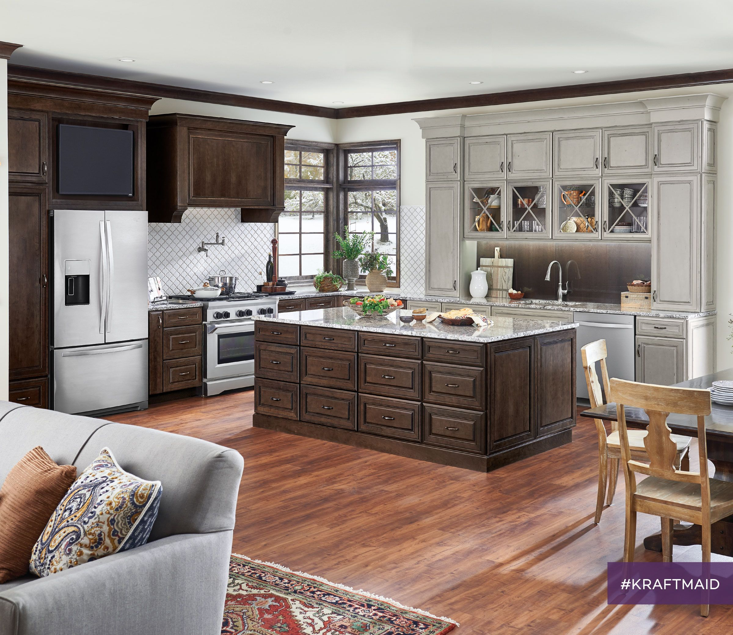 Hidden in this kitchen are multiple clever KraftMaid ...