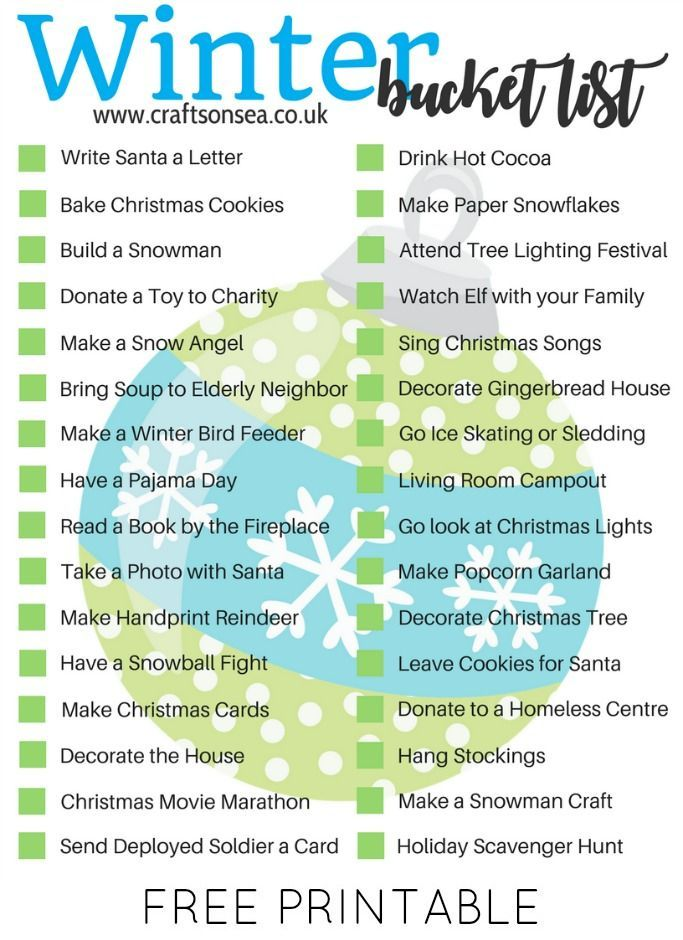 Winter Bucket List For Families: Free Printable