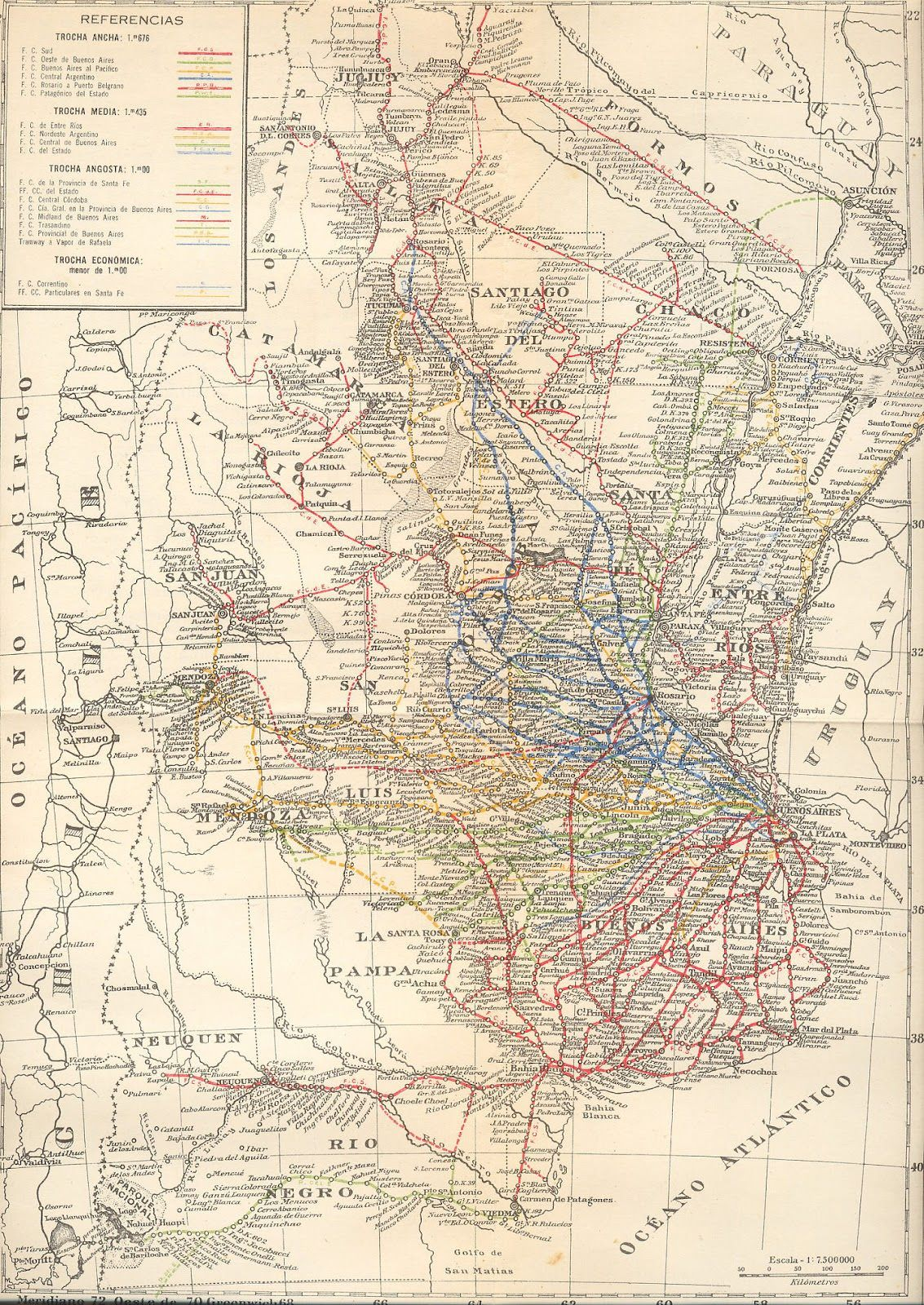 Railway system of Argentina in 1940