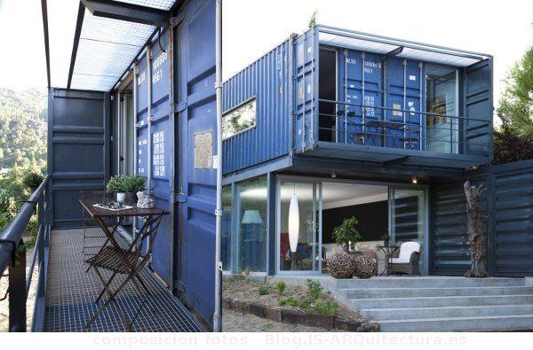Terraza dormitorio casa con 4 contenedores contenedores - Viviendas prefabricadas modernas ...
