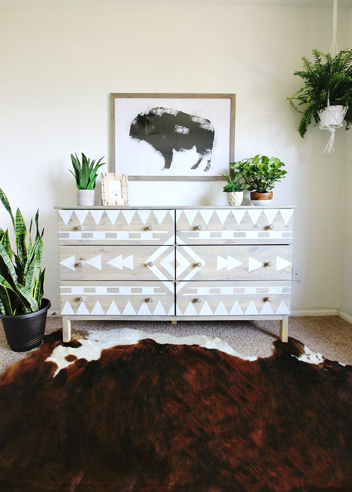 Discover Dresser Diy Ideas For Updating A Dull Or Old Such As Paint Patterns New Pulls Domino Shares To Try At Home