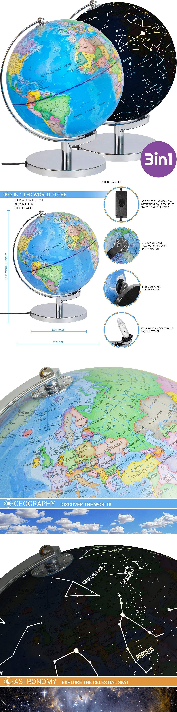 Geography and History 3 In 1 Illuminated World Globe