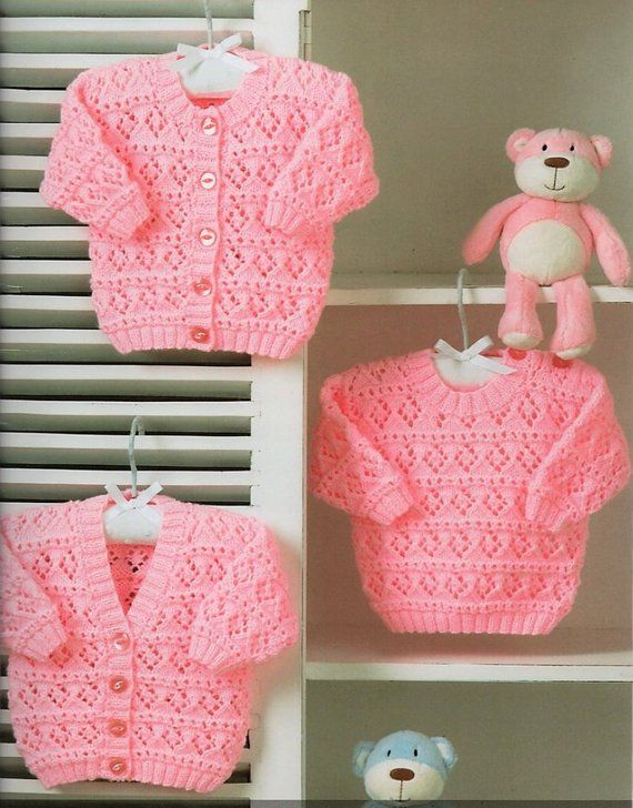 4f5244e2b5a4 Vintage Knitting Pattern Knit Baby Cardigan   Pullover Sweaters ...