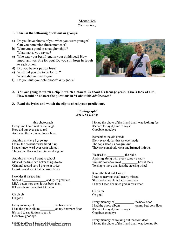 Nickelback Photograph Phrasal Verbs Fun Poetry Activities Music Lesson Plans Fun Poetry [ 1440 x 1018 Pixel ]