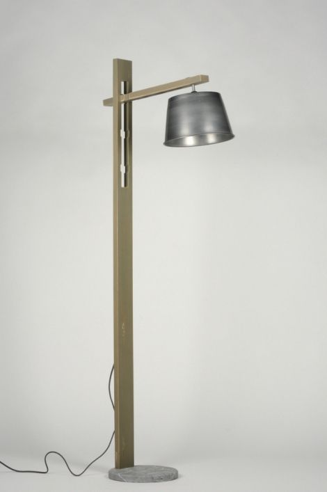 lampadaire moderne look industriel aluminium bois gris