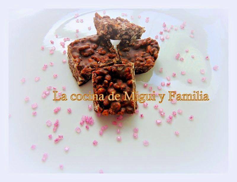 LA COCINA DE MIGUI Y FAMILIA: TURRÓN DE CHOCOLATE CON ARROZ INFLADO