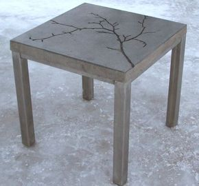 Diy Concrete Table So Doing This Add Leaves And Other Nature Stuff Before Pouring The For Added Texture Love