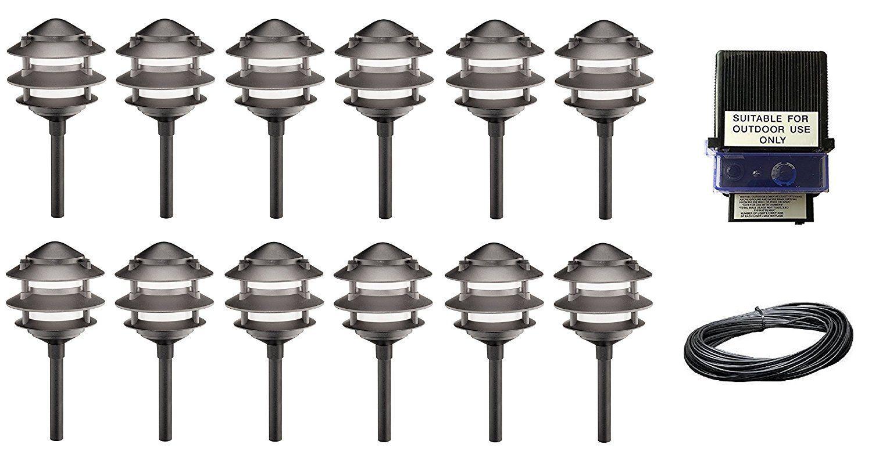 14 Piece Malibu Lighting Kit 12 LED 3-Tier Cast Metal