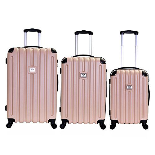 Slimbridge Lydd Set of 3 Hard Suitcases, Champagne | Cheap ...