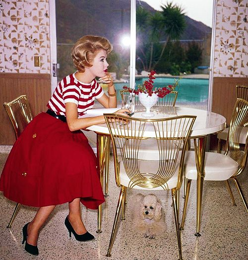 Sandra Dee - great mid century decor! 50s 60s red skirt white striped knit top shoes belt