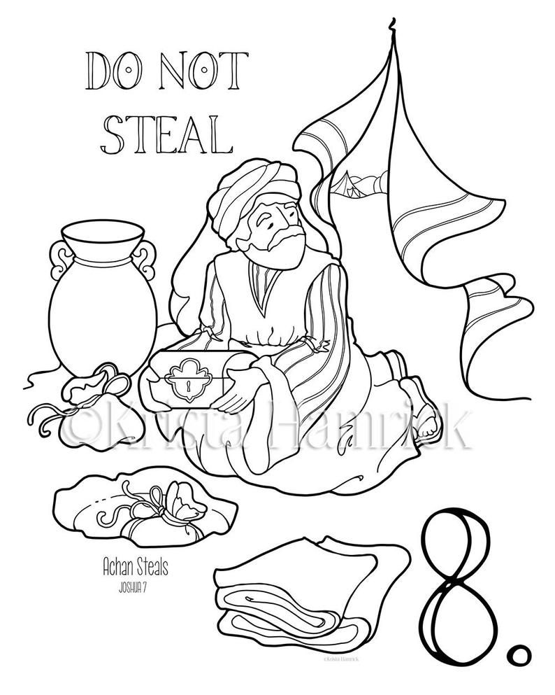 The Ten Commandments Memory Coloring Collection Includes 14 Coloring Pages For Memorization Or Lessons In 2020 Sunday School Coloring Pages Bible Coloring Pages Ten Commandments