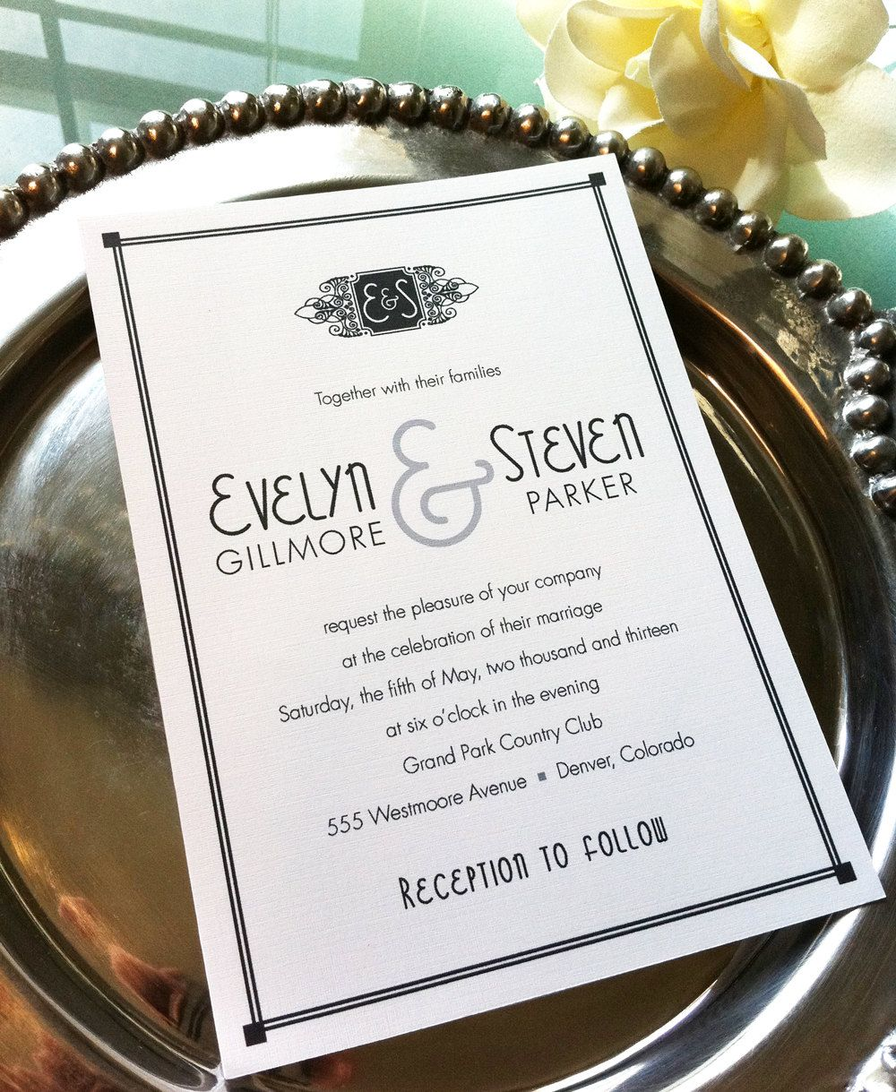 DIY Printable - Hollywood Glamour Wedding Invitation Suite, Art Deco ...