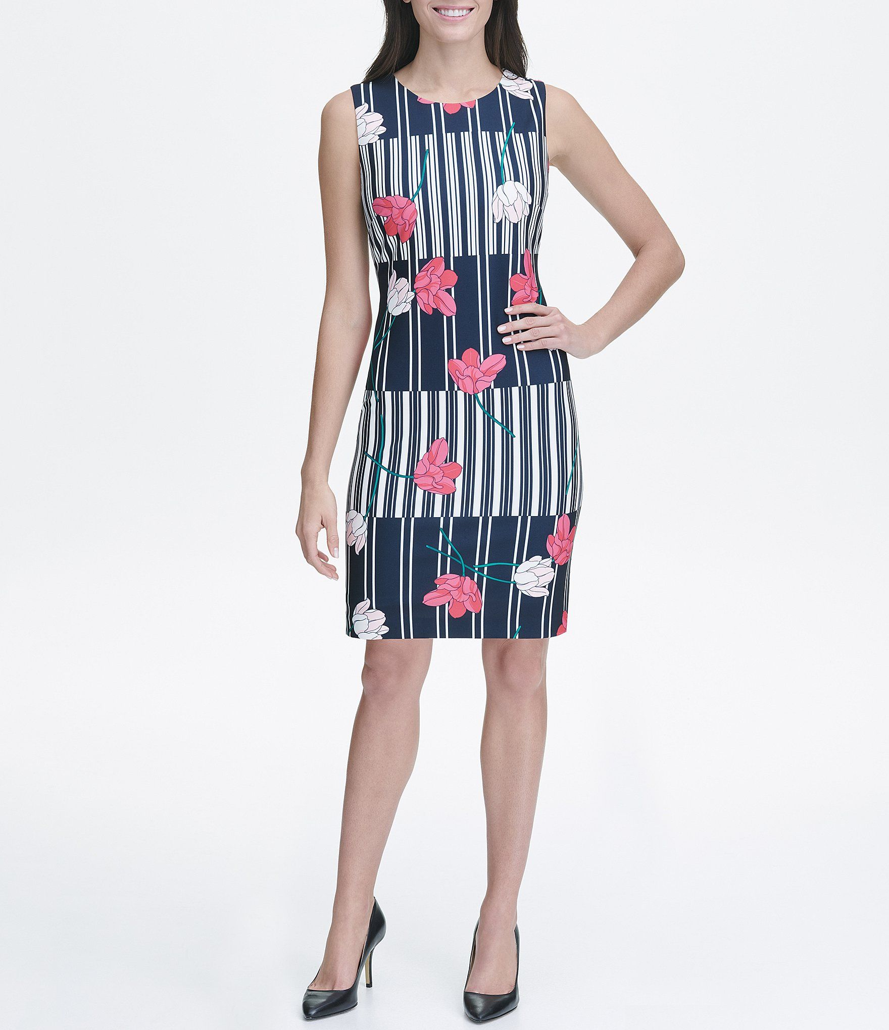 9ed99f066441 Shop for Tommy Hilfiger Mixed Stripe Floral Print Scuba Crepe Sleeveless Sheath  Dress at Dillards.com. Visit Dillards.com to find clothing, accessories, ...