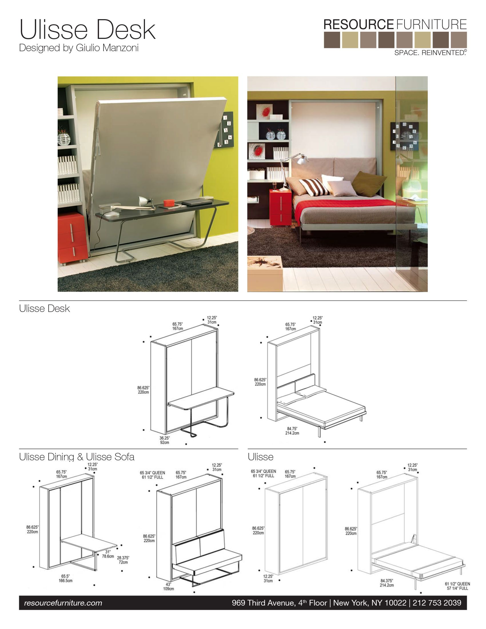 Ulisse Desk Resource Furniture Wall, How To Build A Murphy Bed With Desk