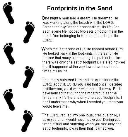 I Always Forget He Is Right Here Footprints In The Sand Poem