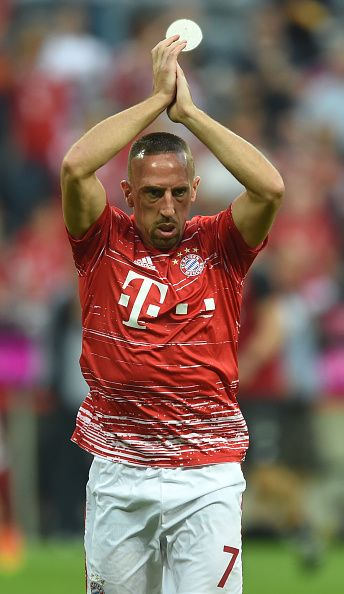 Bayern Munich's French midfielder Franck Ribery reacts ahead of the German first division Bundesliga football match between FC Bayern Munich vs SV...