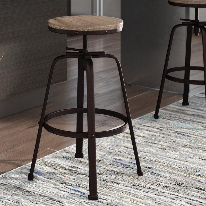 Mullings Adjustable Height Bar Stool Farmhouse bar stools
