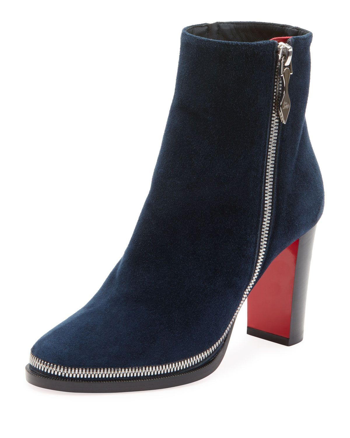 low priced 95b42 d9fb1 CHRISTIAN LOUBOUTIN TELEZIP SUEDE RED SOLE BOOTIES ...