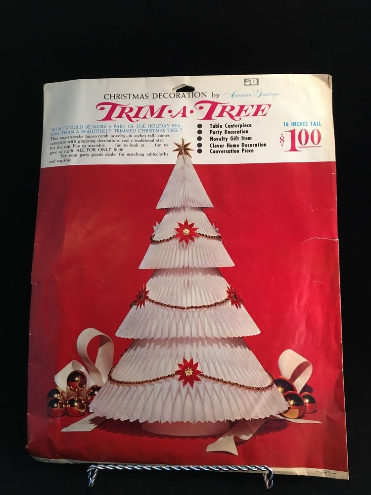 Vintage American Greetings Honeycomb Christmas Tree Centerpiece TrimATree