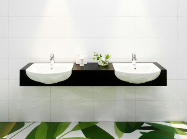 Sink green flooring minimalist contemporary