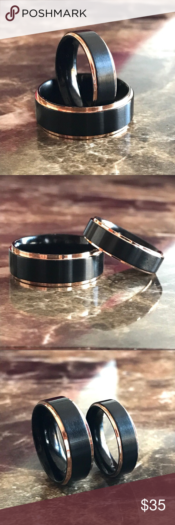 His & Hers Black Titanium Rose Gold Couples Rings Brand new No trades I do bundle  Fit: Comfort Metal: Titanium  Finish: Rose Gold Plated Band Width: Male 8MM Female 6MM Color: Black/Rose Gold  Men sizes: 7/8/9/9.5/11/11.5/12.5 Women sizes: 5/6/7/8/9/9.5/11 Ring box included  Please comment ring size for male and female before or after purchase thank you. Jewelry Rings