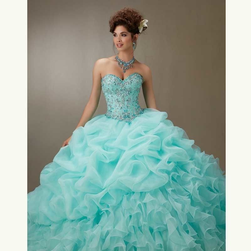 8853c694220 Quinceanera Dresses Newest Ruffles Fashion Organza Ball Gown Sweet Party  Crystals Sequined 2017 Long For Girls