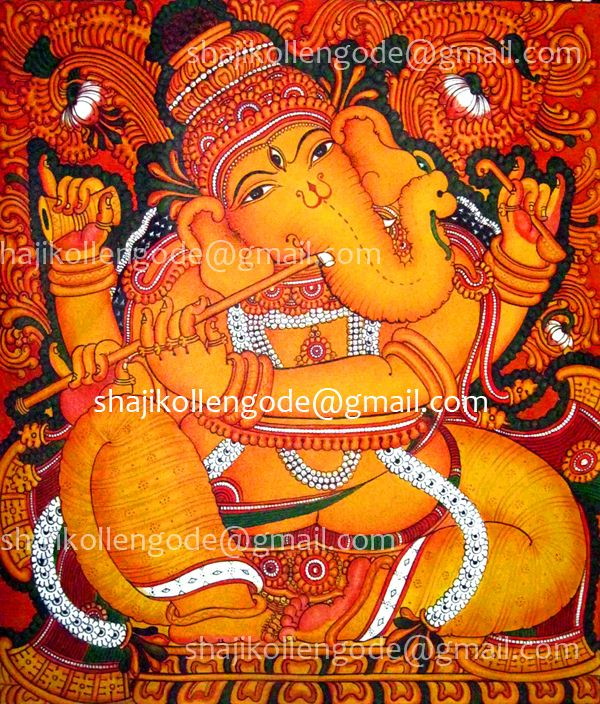 J kerala mural painting done by shaji kollengode for Mural art of ganesha