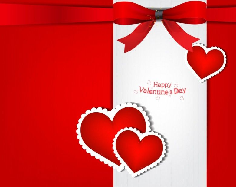Happy Valentines Day with a red ribbon 780x618 Worlds Most Lovely – Lovely Valentine Cards
