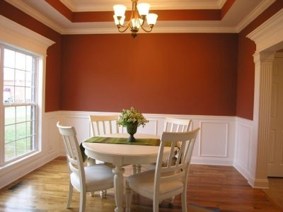 Wainscoting With Terracotta Walls Dining Room House Orange Dining Room Dining Room