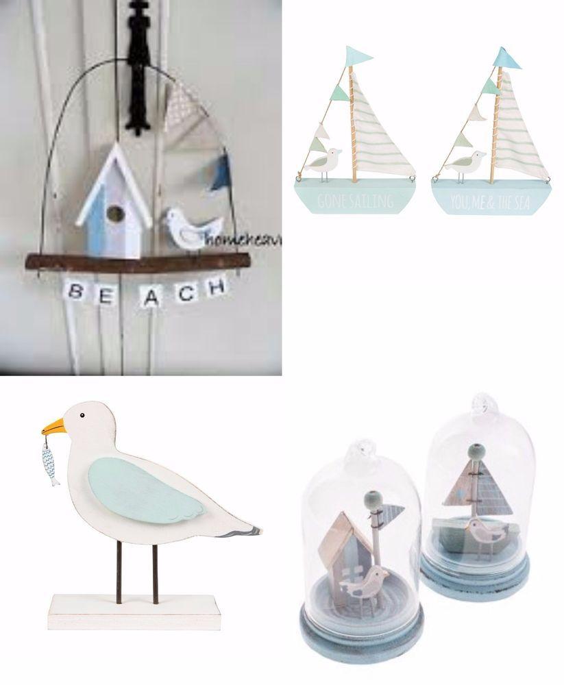 Bathroom Ornaments Nautical Sail Boat Seagull Bird Beach Hut Blue ...