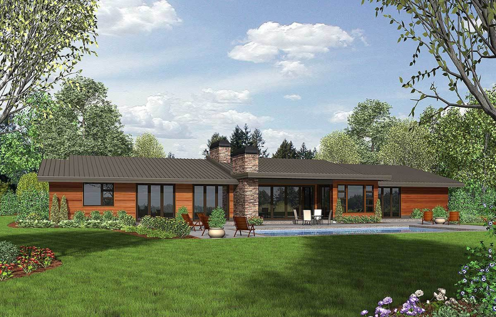 Plan 69510am Stunning Contemporary Ranch Home Plan Ranch House Plans Mid Century Modern House Plans Modern House Plans