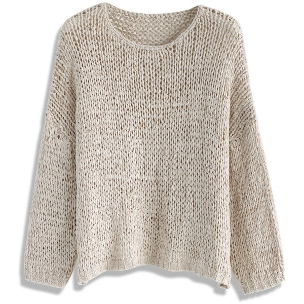 Chicwish Handmade With Love Knit Top in Light Tan ($42) ❤ liked ...