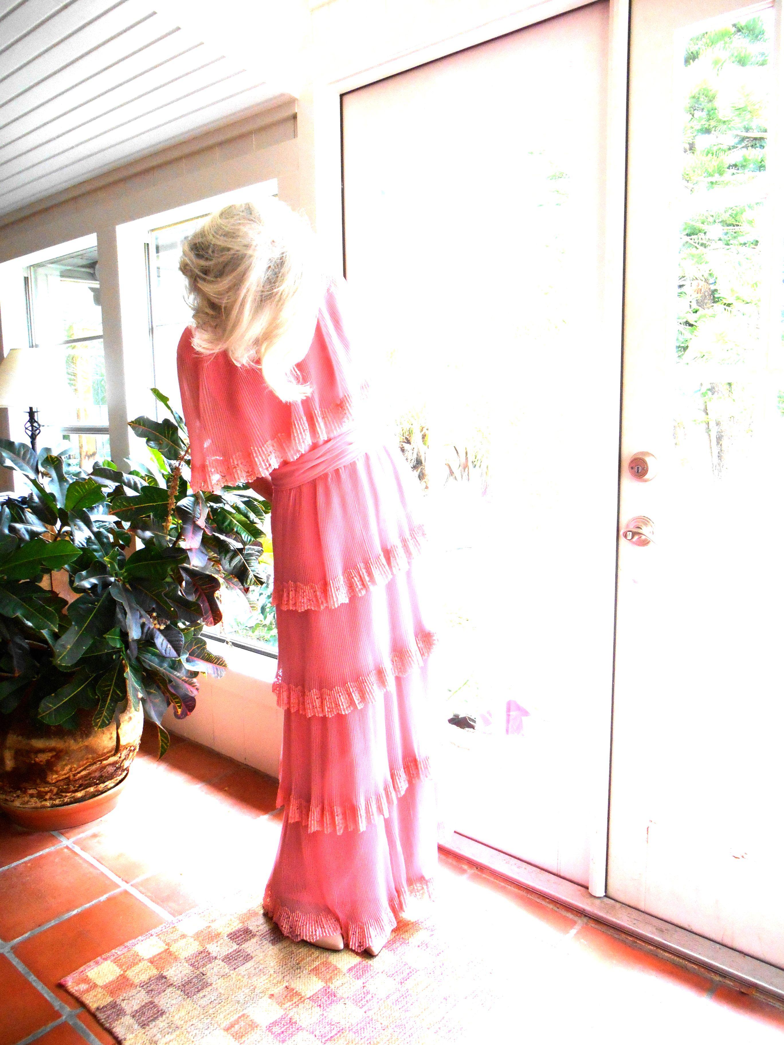 Vintage Miss Elliette California chiffon pleated gown ...
