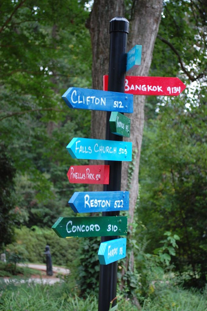 Directional sign post to where we have vacationed