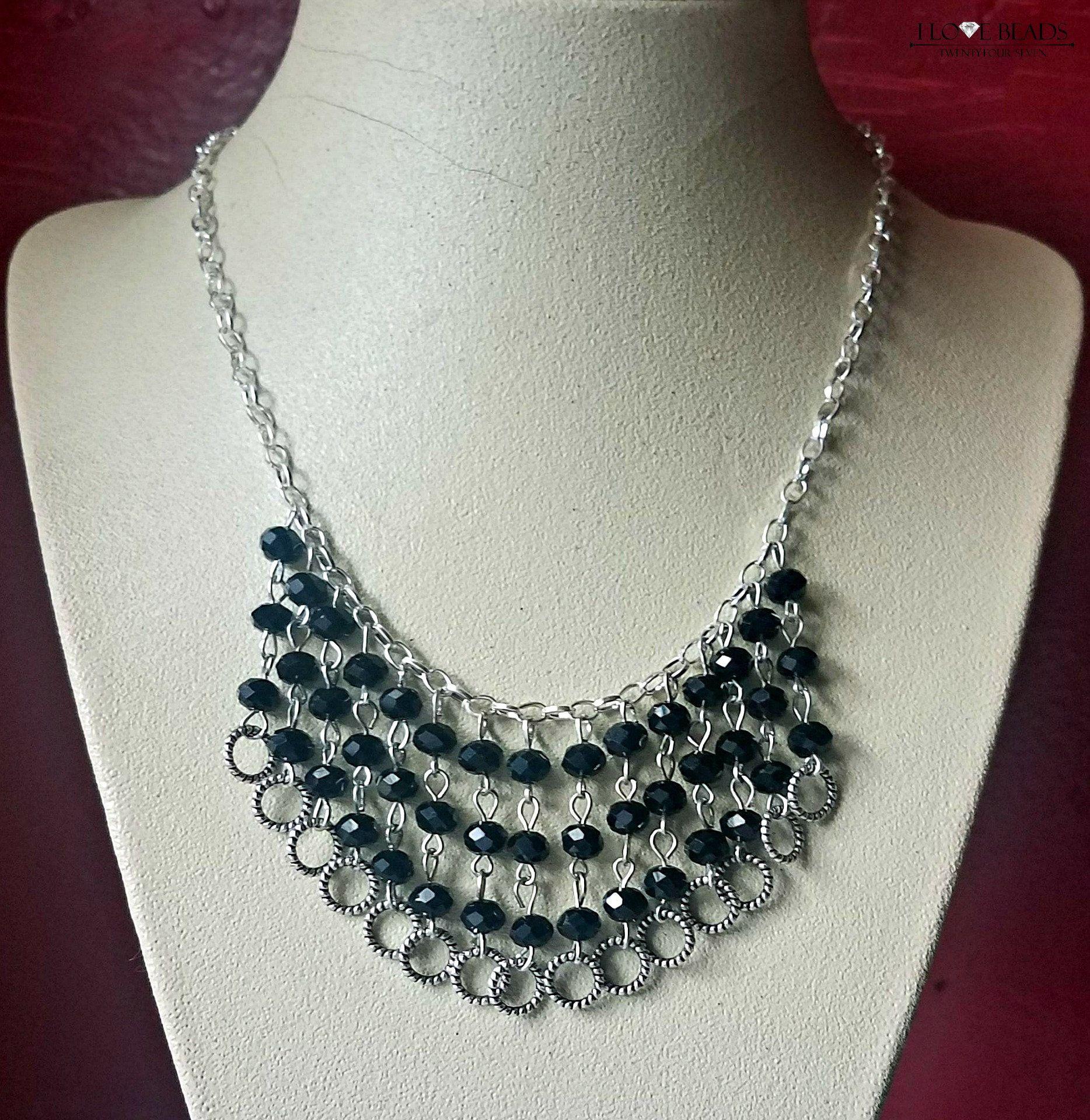 Black crystal czech glass statement necklace on silver