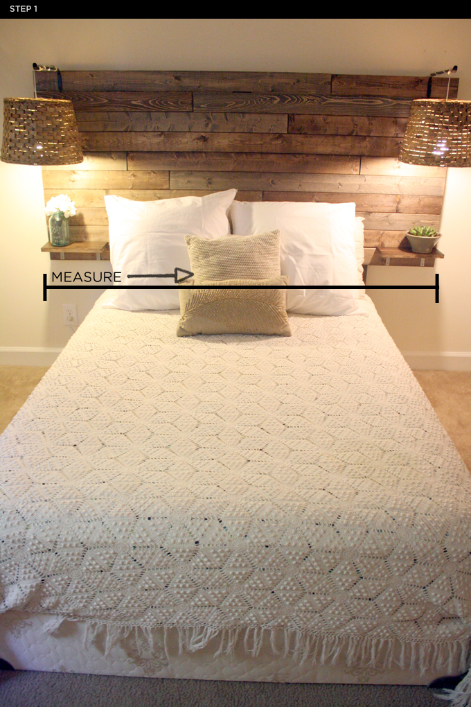 PULCHRITUDE // FEST: DIY: Rustic Headboard...love the small tables for drink and glasses