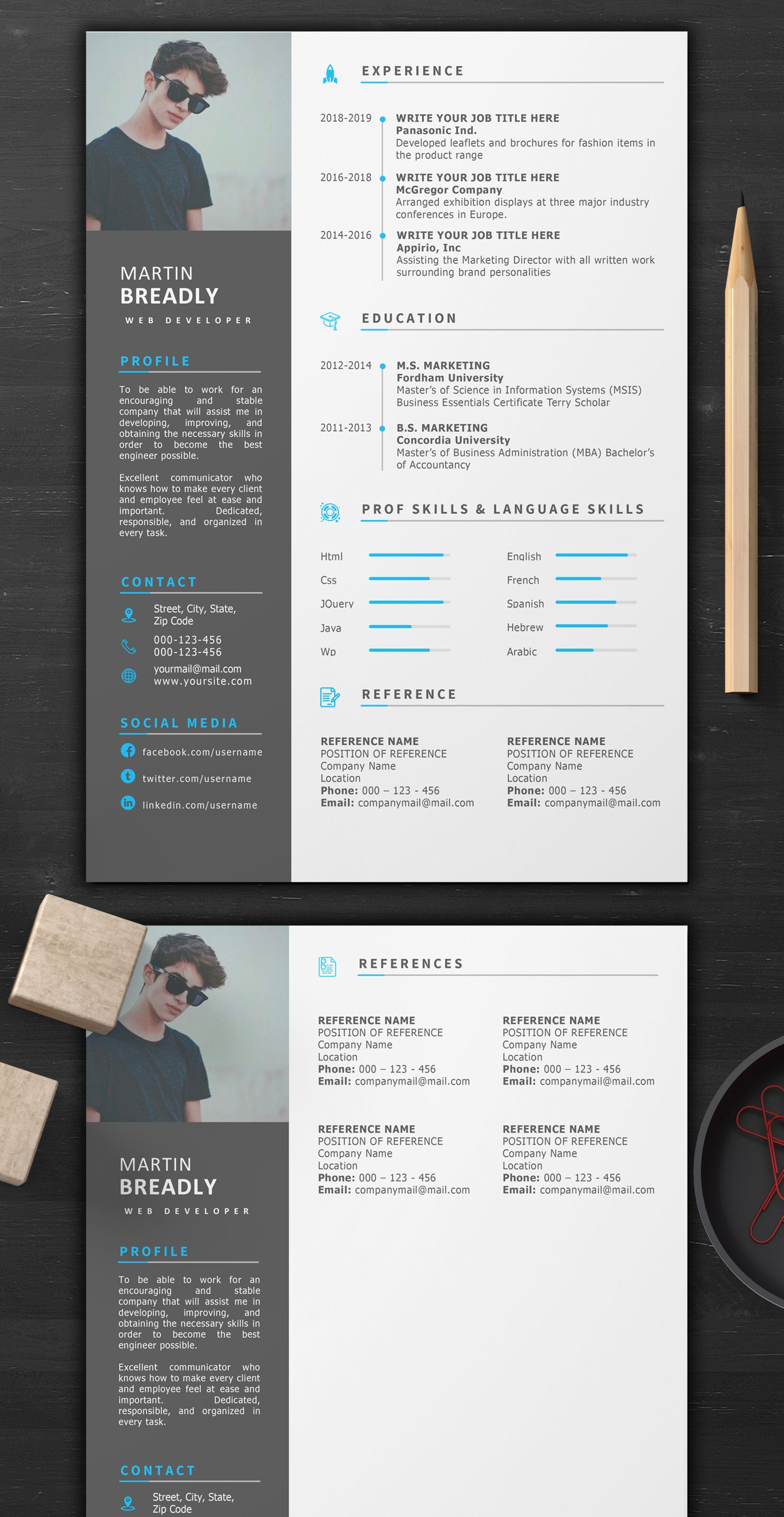 Creative Resume Template 1 Page Resume Professional Resume And Cv Template Creative Resume Templates Creative Resume Resume Template Word