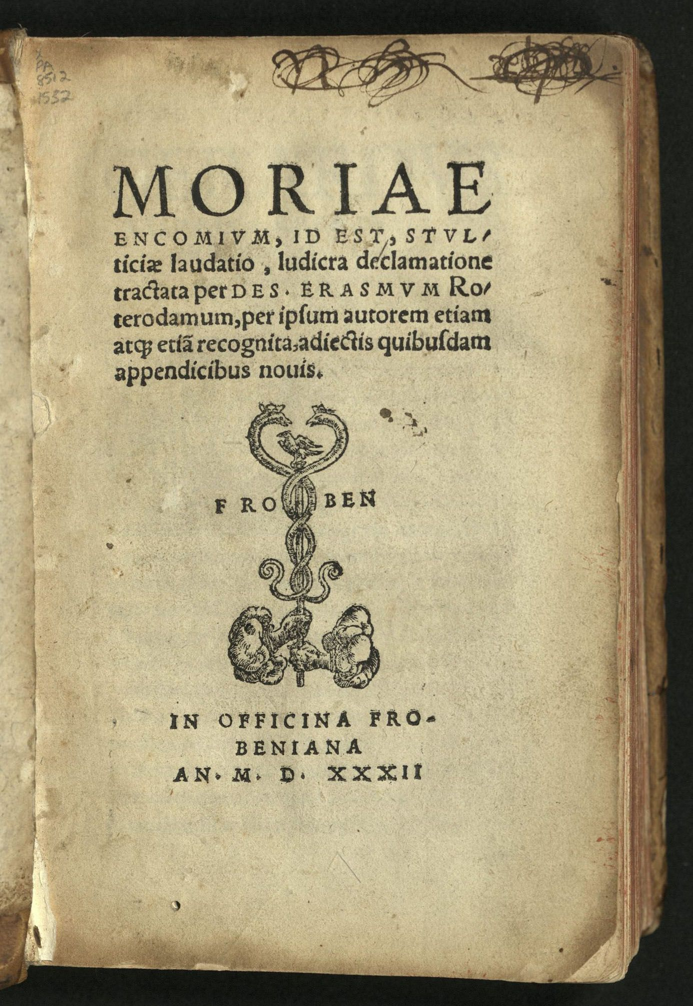 Title Page Of 1532 Froben Edition Book Design Open A Paraphrase Condense Information From Source