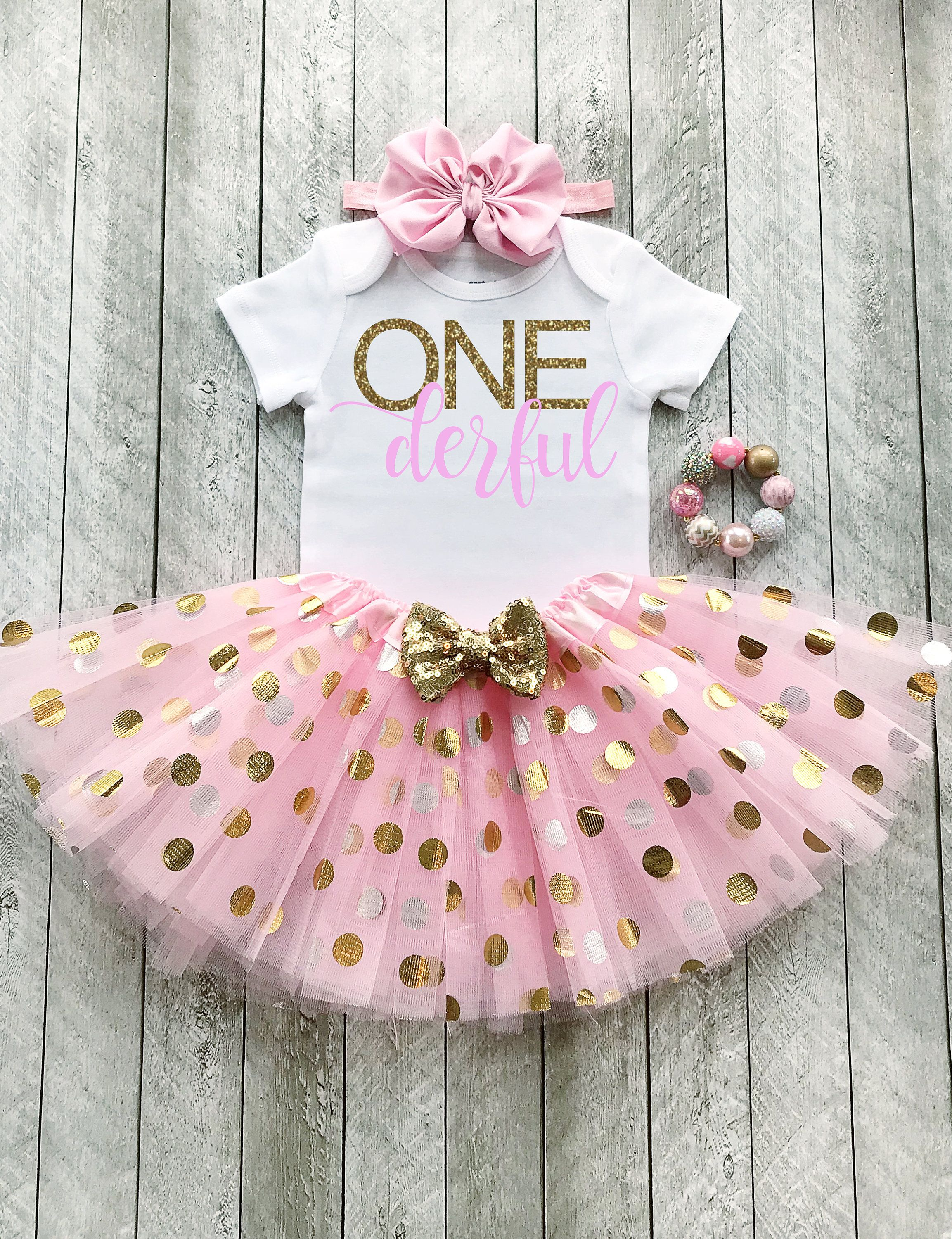 Onederful birthday One year old girl birthday outfit 7  Etsy