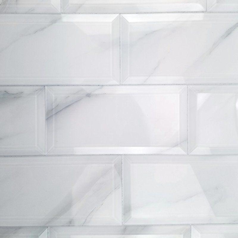 Nature Wall Backsplash Beveled Edge X Glass Subway Tile In - 4 by 8 subway tile