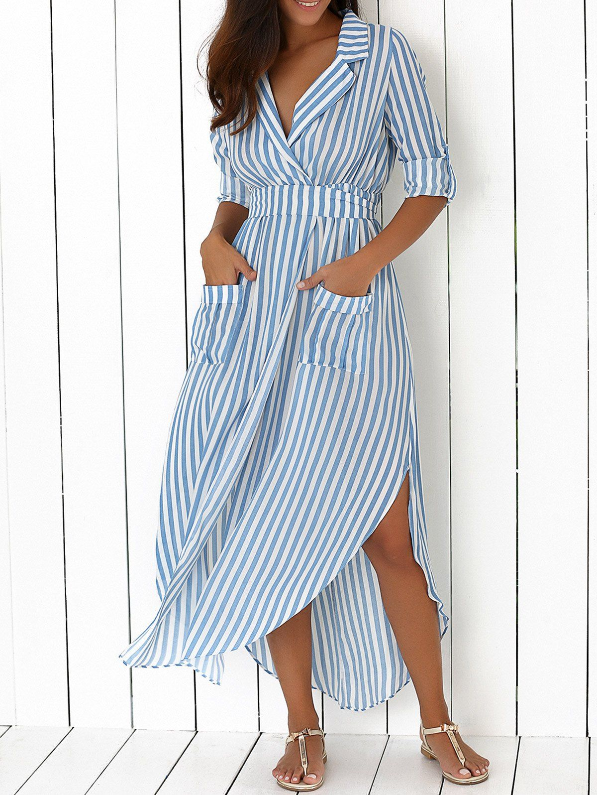 Long sleeve striped slit maxi dress with pockets the commuters