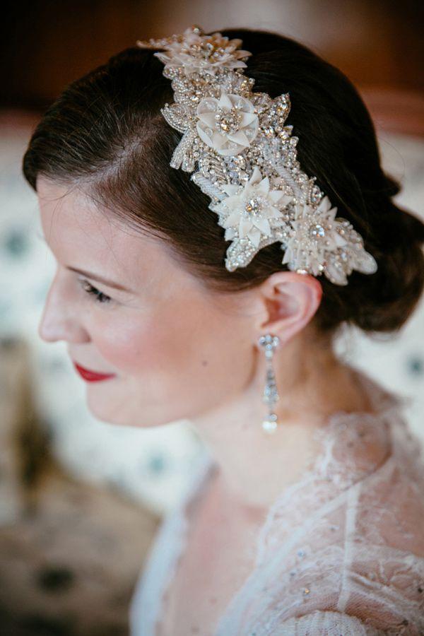 beaded headband, photo by Tory Williams http://ruffledblog.com/georgia-railroad-museum-wedding #weddinghair #hair #accessories