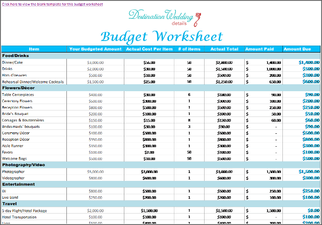 super simple destination wedding planning spreadsheets wedding