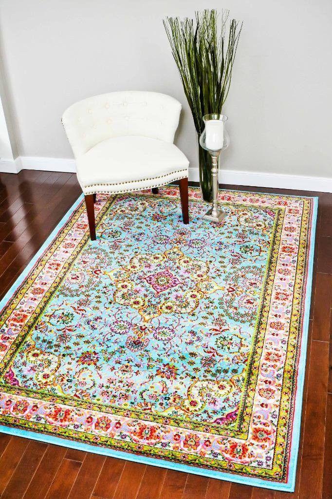 Light Blue Persian Rug Multi Color Oriental Area Rugs Bargain