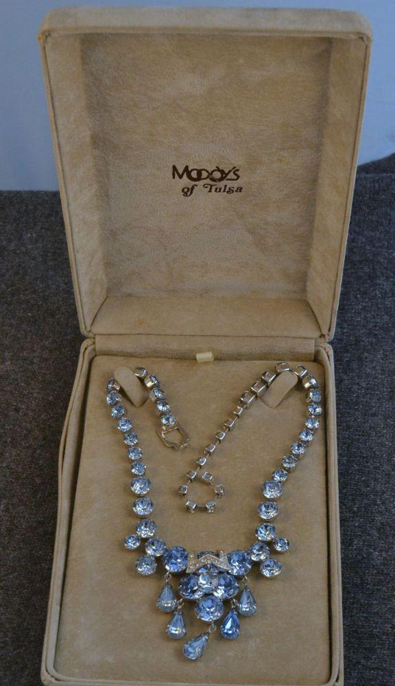 EISENBERG Vintage Necklace Baby Blue  Rhinestone  circa 1950's FAB #Eisenberg #Collar