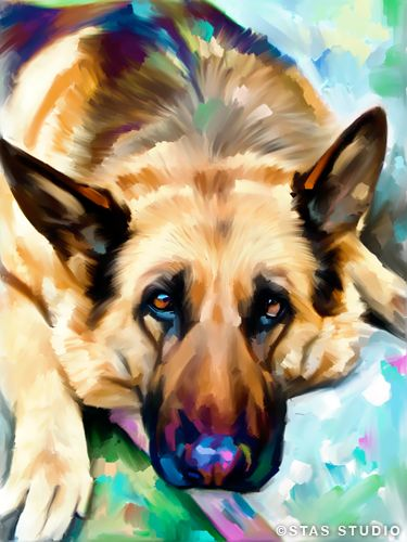 German Shepherd Oil Original Art Print Canvas Oil Giclee