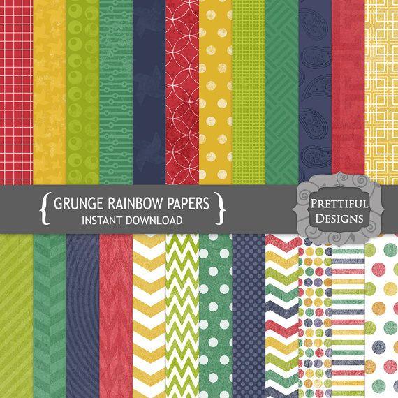 40% Off Everything Sale Digital Scrapbooking Paper Pack Grunge Rainbow Colors Chevron Polka Dot